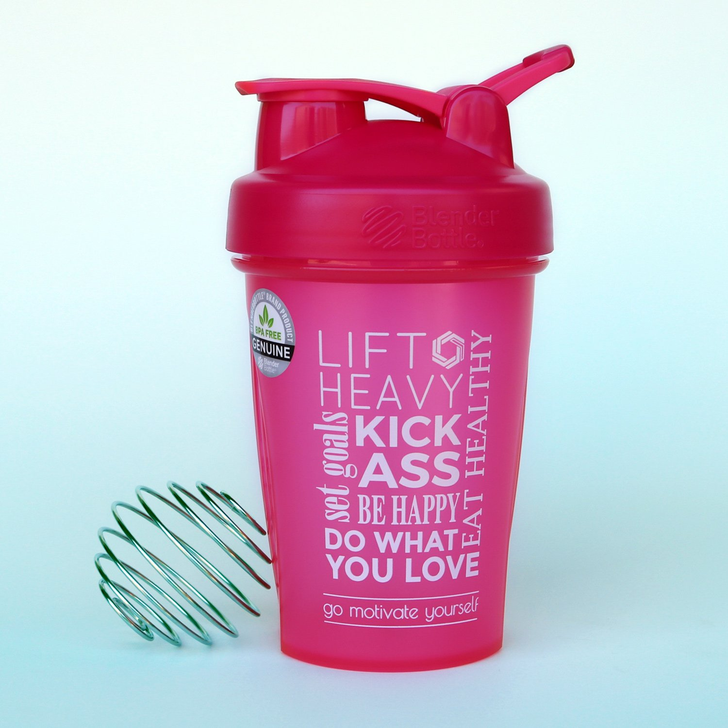 GOMOYO Do What You Love Word Mesh on BlenderBottle brand Classic shaker cup, 20oz Capacity, Includes BlenderBall whisk (Pink - 20oz) by GOMOYO (Image #2)