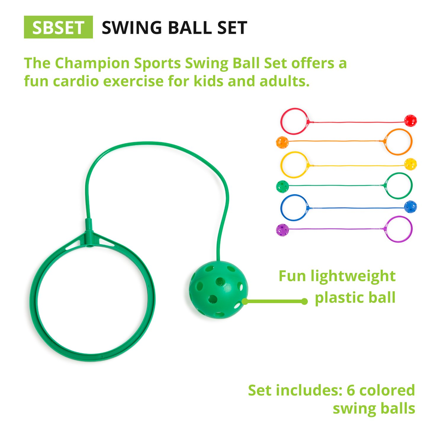 Nightzone light up rebound ball - Amazon Com Champion Sports Swing Ball Set Pack Of 6 Assorted Colors Sports Outdoors