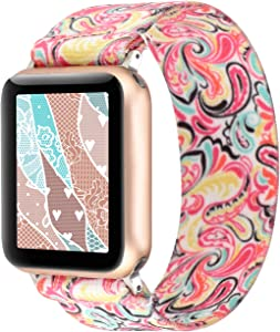 PENKEY Stretchy Band Compatible with Apple Watch Elastic Band 42mm 44mm Cute Pattern Soft Nylon Strap Replacement Wristband for iWatch Series 5/4/3/2/1 (Color, 42mm/44mm Large Size)