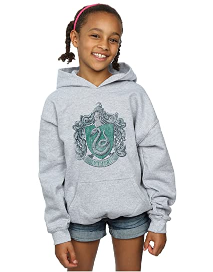 cb84d109329 Harry Potter Girls Slytherin Distressed Crest Hoodie: Amazon.co.uk ...