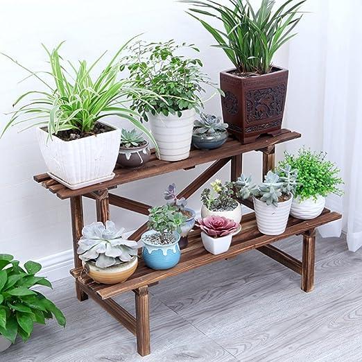 Escalera de 2 Niveles Estantes de Flores/Plantas/Estante Exhibición de Plantas de Madera para macetas de Plantas Estante de Almacenamiento de jardín Estantería Interior o Exterior para Sala de EST: Amazon.es: Jardín