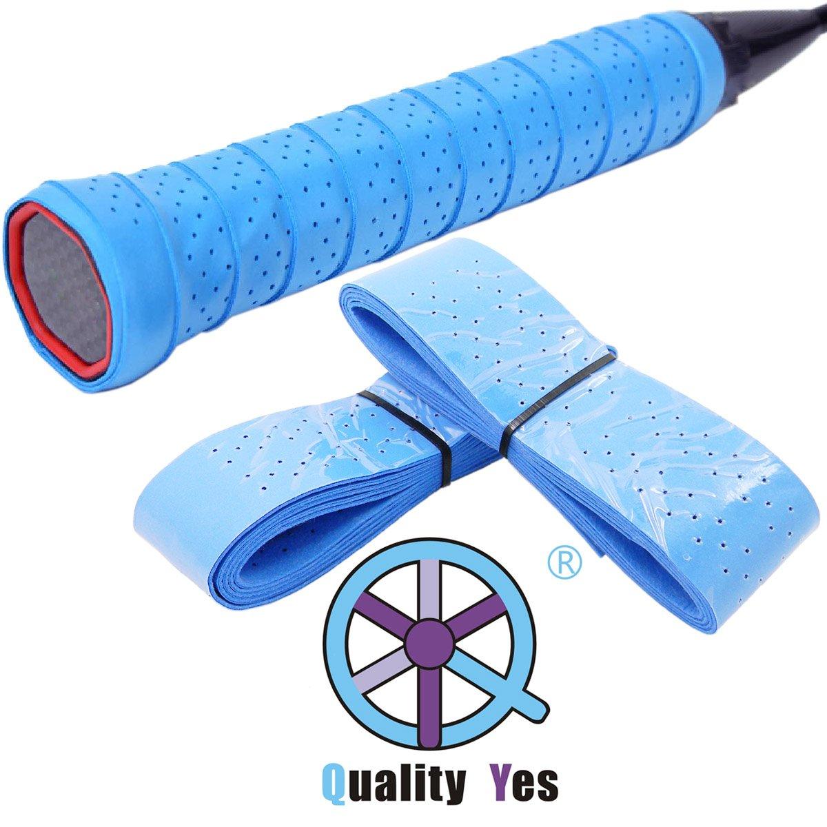 QY 2Pack Widened Perforated Super Absorbent Tennis Racket Overgrip Anti Slip Badminton Racket Tape Wrap Table Tennis Racket Tape, Dark Blue