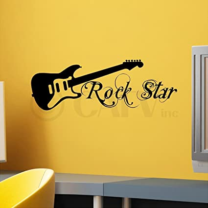Amazon.com: Rock Star With Guitar wall saying vinyl lettering art ...