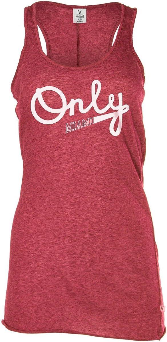 Official NCAA University of Miami Hurricanes The U UM U of M Canes Women's Long Sleeve Tri- Blend Football Tee
