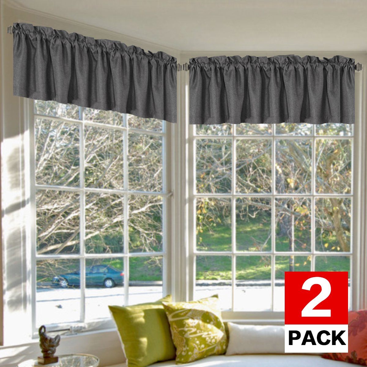 H.VERSAILTEX Privacy Protection Heavy Faux Linen Kitchen Valances for Windows Room Darkening Blackout Curtain Valances for Bedroom, Rod Pocket Top, 2 Pack, Charcoal Gray, 52 x 18 Inch