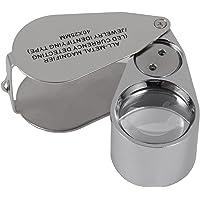 Loupe de bijoutier entièrement en métal avec design pliable, loupe de poche tm-home avec LED et lampe UV (détection de monnaie LED/type d'identification de bijoutiers)