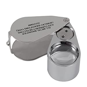 40X Full Metal Illuminated Jewelry Loop Magnifier,XYK Pocket Folding Magnifying Glass Jewelers Eye Loupe with LED and UV Light(LED Currency Detecting/Jewlers Identifying Type Lupe)