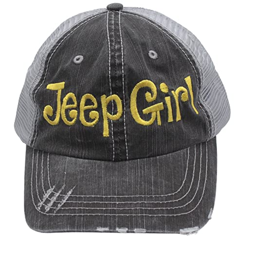 e8d93a69ae8 Jeep Girl Embroidered Distressed Trucker Style Cap Hat Rocks Any ...