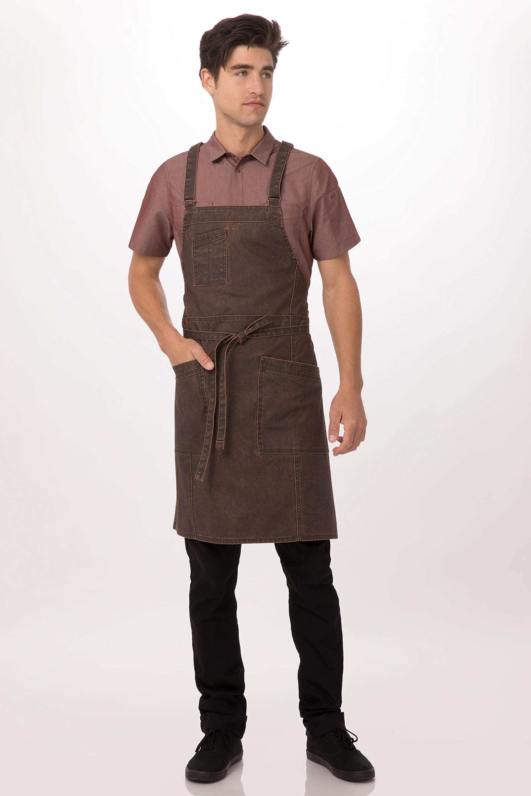Chef Works Denver Cross-Back Bib Apron, Choc/Rust, One Size by Chef Works