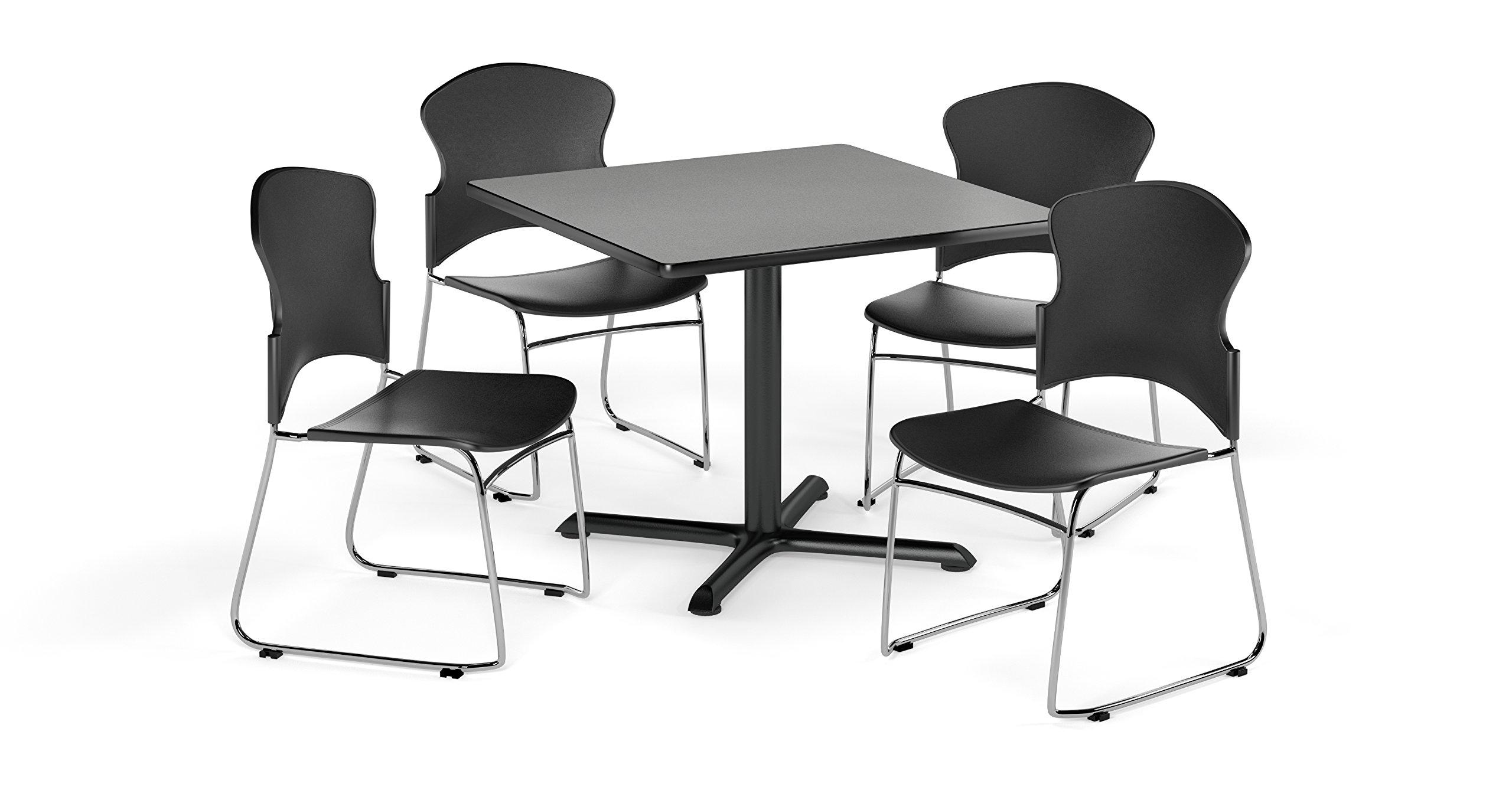 OFM PKG-BRK-036-0006 Breakroom Package, Gray Nebula Table/Black Chair