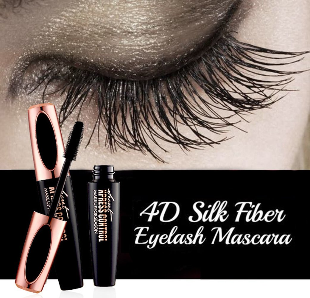 4D Silk Fiber Eyelashes Mascara - Waterproof Eyelash Extension Makeup Kit Thickening and Lengthening Long Lasting