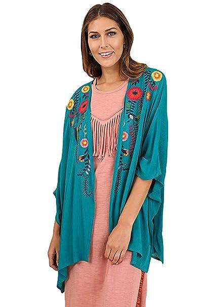 Amazon.com: umgee elegante Flowy bordado bohemio chaqueta de ...