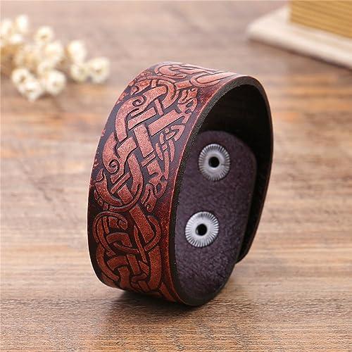 fishhook Vintage Punk Ancient Chinese Dragon Knot Symbol Double-Clasp Bangle Leather Bracelet
