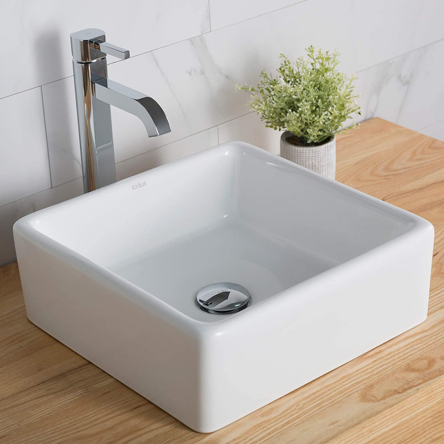 Kraus C-KCV-120-1007CH White Square Ceramic Sink and Ramus Faucet Chrome