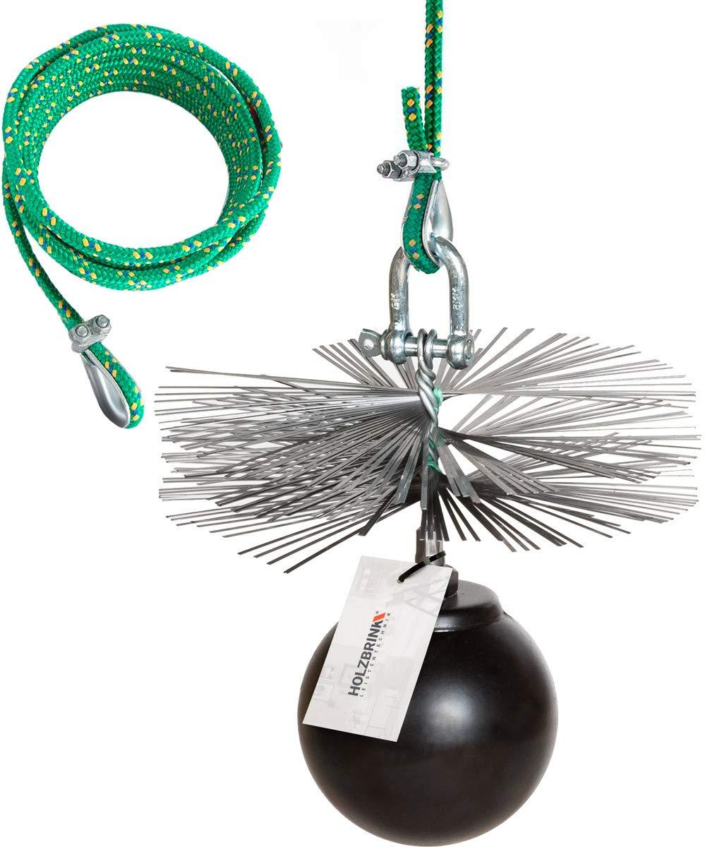 12m PP-Seil Zuggewicht inkl Montagezubeh/ör PROFISET Spezial HOLZBRINK 350mm Kaminbesen Schornsteinbesen aus Federstahl