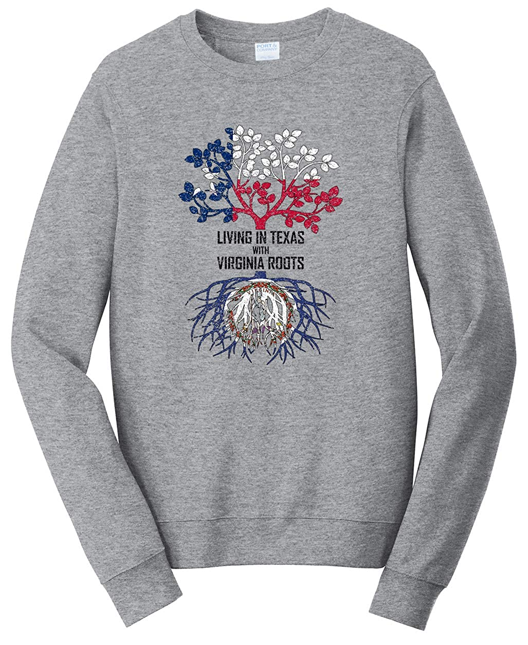 Tenacitee Unisex Living in Texas Virginia Roots Sweatshirt