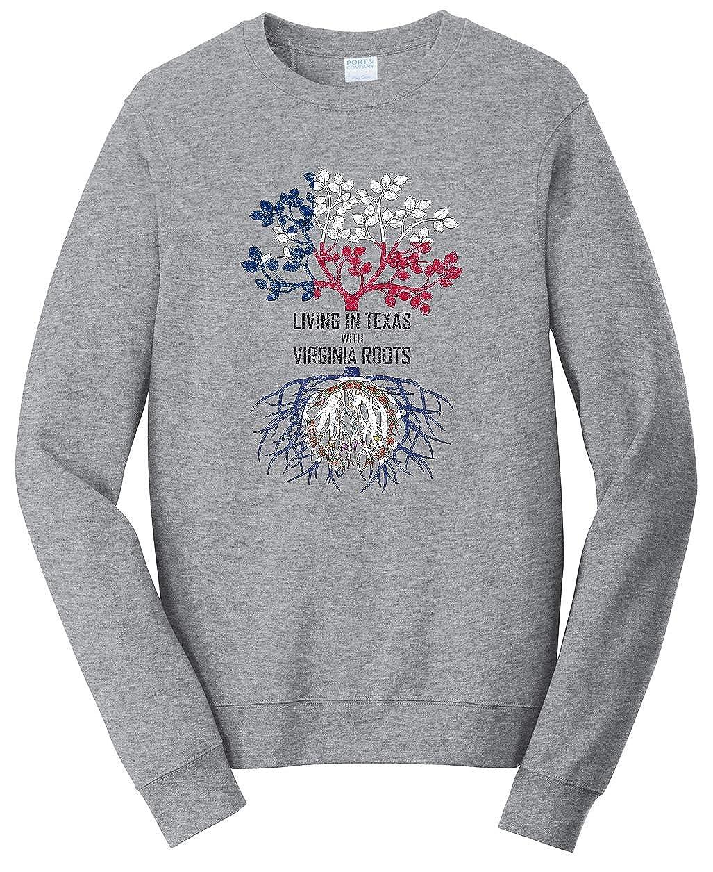 Tenacitee Unisex Living in Texas Virginia Roots Sweatshirt