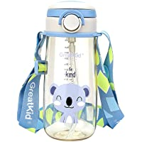 Kids Sport Water Bottle with Straw,PPSU Reusable Bottle with Handle or Shoulder Strap Two ways to Carry,Leak-proof…