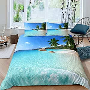 Erosebridal Ocean Duvet Cover Summer Beach Decor Hawaiian Vacation Style Bedding Set Palm Trees Tropical Nature Sea Theme Home Decor Comforter Cover Set, 1 Duvet Cover with 2 Pillow Cases Full Size