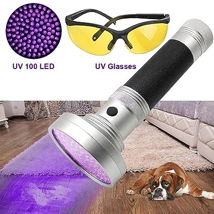 DaskFire negro luz UV linterna 100 LED Blacklight Premium portátil ULTRAVIOLETA mascota perro y gato orina mancha buscador: Amazon.es: Productos para ...