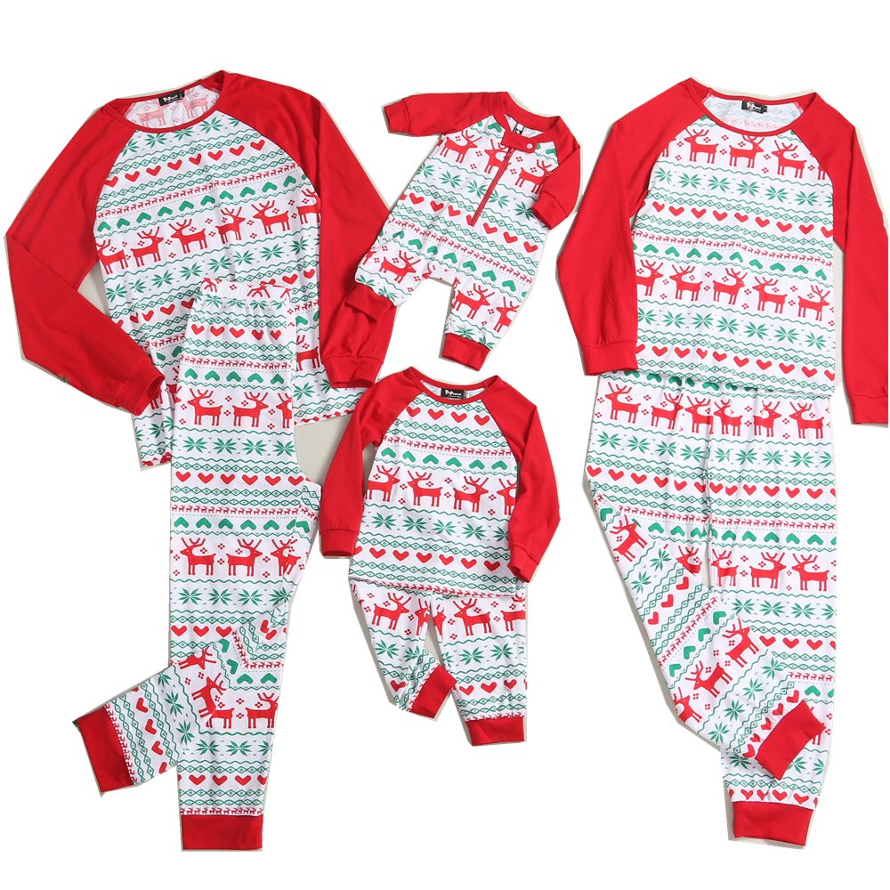 PopReal Reindeer Print Family Matching Clothes Long Sleeve and Pants Christmas Pajamas Set 16K10XMS11ZX