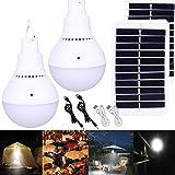 2PCS Lámpara Solar Portátil Bombilla de LED Solar Portatil, Luz Solar para Interior Exterior, Luz de Emergencia…