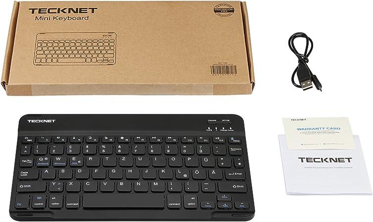 TeckNet – Teclado Bluetooth, ultra slim Bluetooth Keyboard Qwertz Alemán Teclado inalámbrico con batería barem de 6 meses de tiempo de unidad de ...