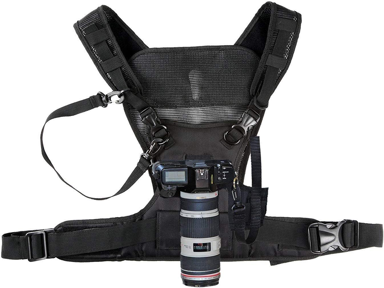 Side Holster /& Backup Safety Straps for Canon 6D 5D2 5D3 Nikon Sony A7R A7S2 Sigma Olympus DSLR Climbing Wedding Travel Hiking Nicama Double Multi Camera Carrier Chest Harness Vest with Mounting Hubs
