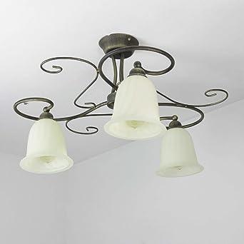 Deckenleuchte rustikal/braun, weiß / 3-flammig / E27 / Metall & Glas ...