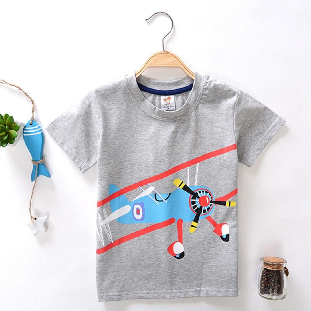 Jchen TM Boys Cartoon Airplane Print Tops Summer Toddler Kids Baby Boys Girls Short Sleeve Tee T-Shirt Blouse For 2-8 T