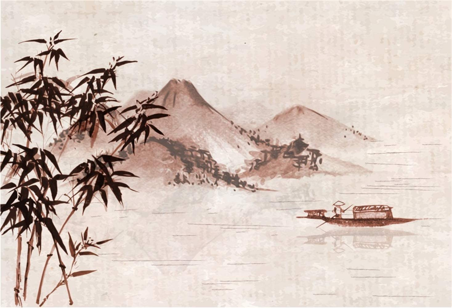 10x6.5ft Vintage Chinese Style Painting Background Bamboo Mountains Fisherman Boat River Polyester Photography Backdrop Children Adults Personal Portraits Shoot Wallpaper Photo Studio
