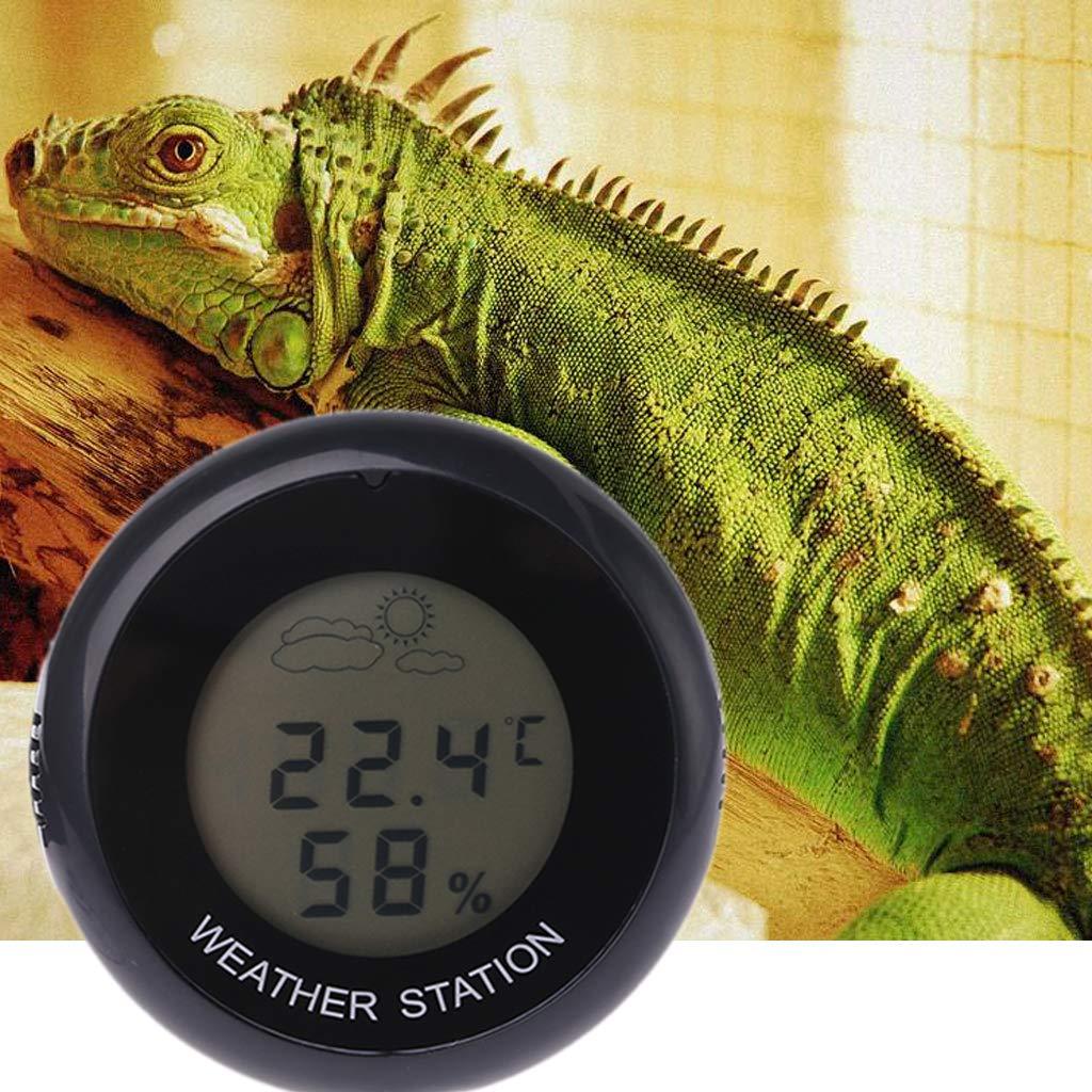 medidor de temperatura estaci/ón meteorol/ógica Term/ómetro digital para interior de reptiles higr/ómetro
