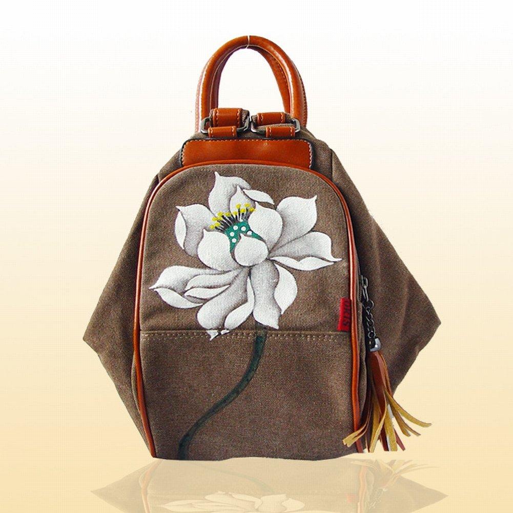Reißverschluss-Segeltuch-Beutelhandtaschen-Handtaschenhandtasche , Lotus & Braun