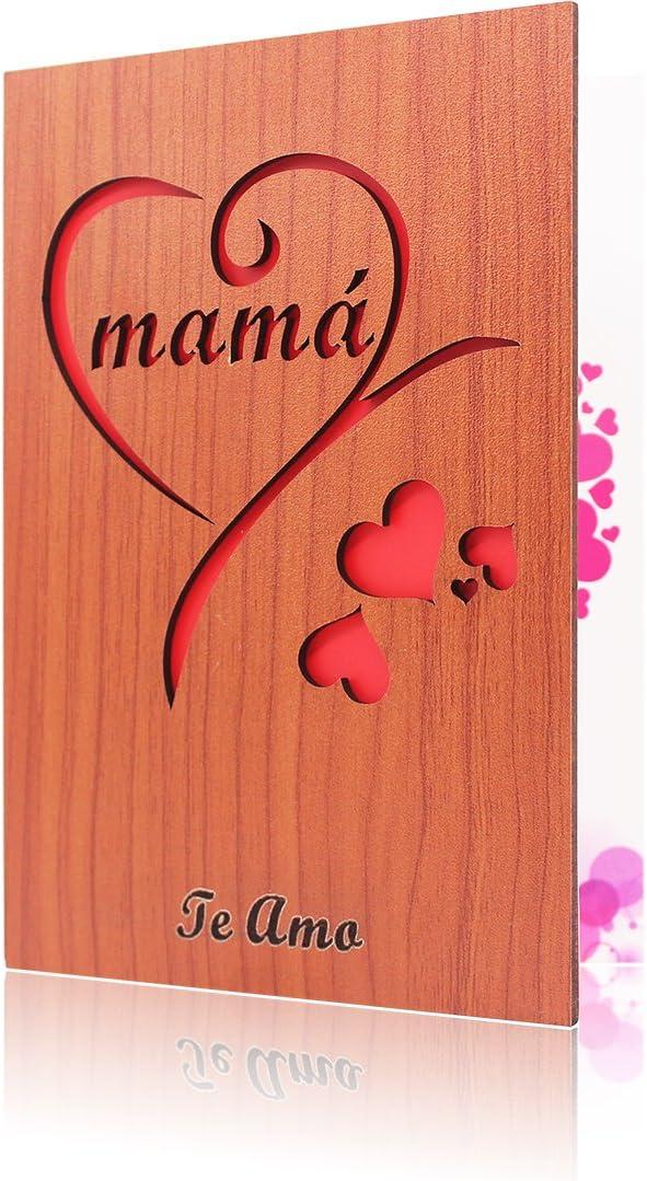 Tarjeta de madera del día de la madre Tarjeta de felicitación de mamá para el regalo de la madre(Mamá)