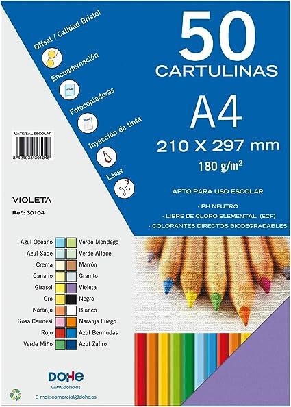 Dohe 30104 - Pack de 50 cartulinas, A4, color violeta: Amazon.es ...