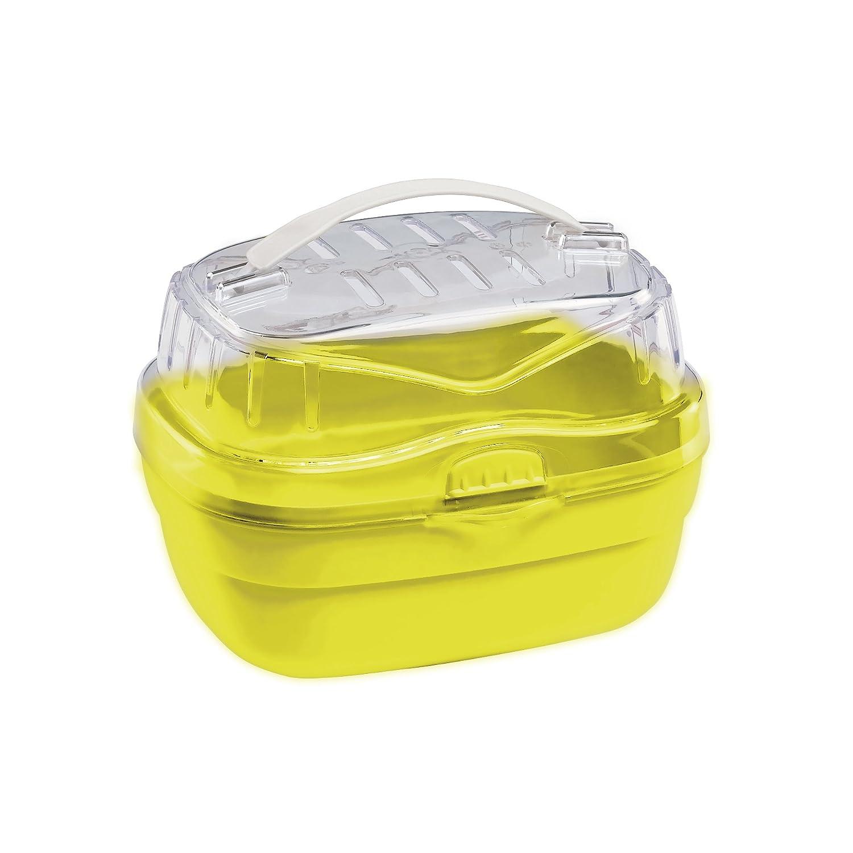 Ferplast Aladino Hamster Carrier, Small, 20 x 16 x 13.5 cm,Transparent/Yellow 73000099W4