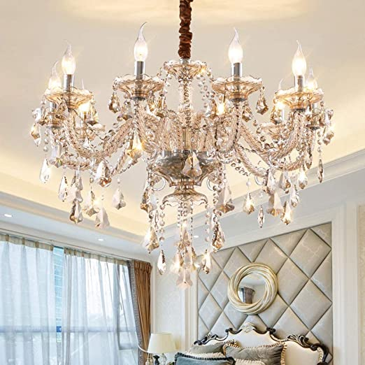 Kactera 10 Lights E14 Luxurious K9 Crystal Candle Pendant Lamp Elegant Exquisite Glass Chandelier Modern Villa Suspension Lantern Home Decor Lighting Amazon Ca Home Kitchen