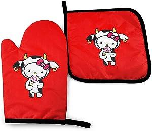 NYF Kawaii Tokidoki for Hello Kitty Oven Mitts and Pot Holders Set Kitchen Heat Resistant Oven Mitten Glove for Baking BBQ