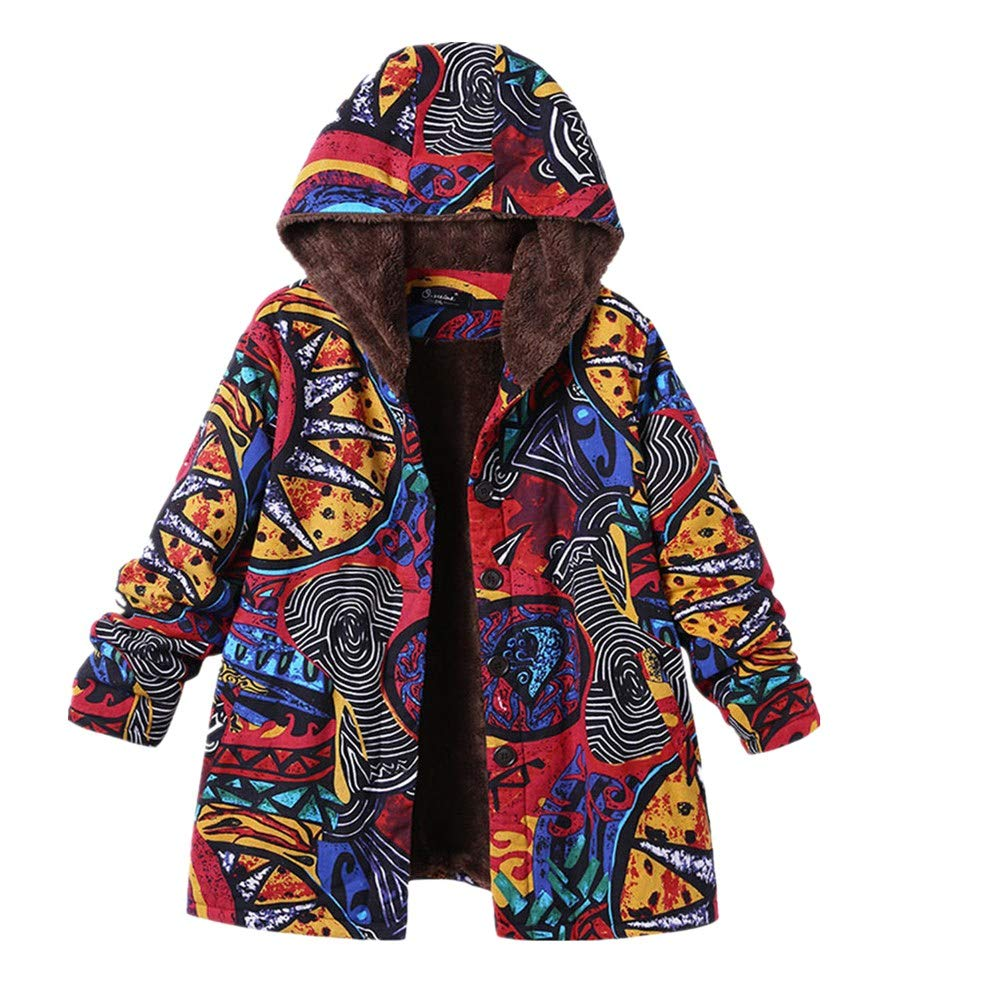 HOOUDO Womens Winter Warm Coats Fashion Casual Outwear Floral Print Hooded Pockets Vintage Oversize Coats