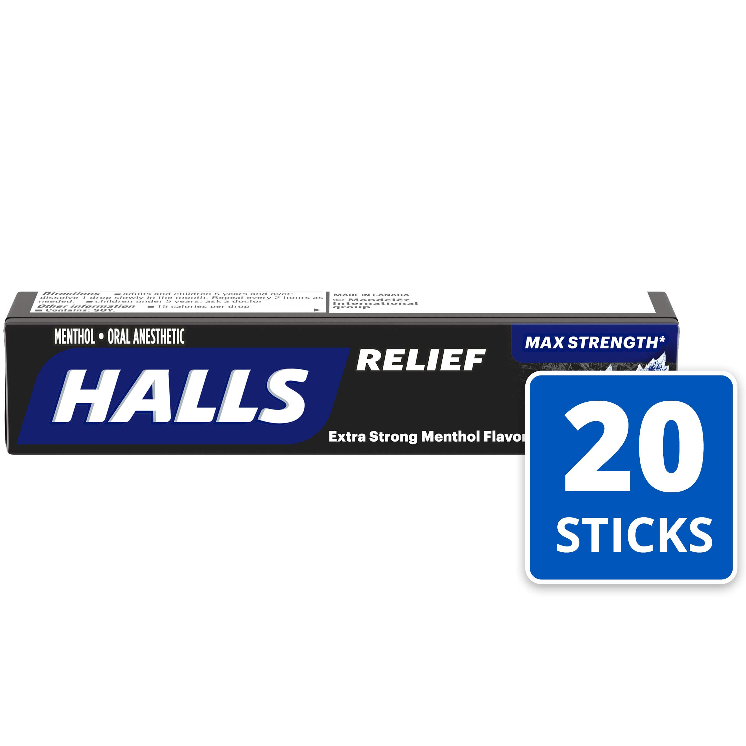 Halls Extra Strength Intense Cool Cough Drops - with Menthol - 180 Drops (20 sticks of 9 drops) by Halls