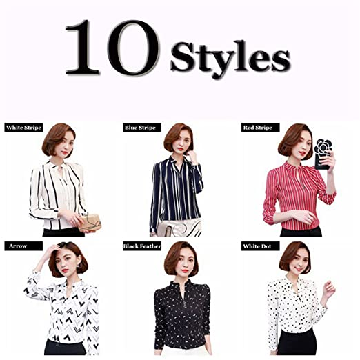 Amazon.com: xiaohuihuihui Long Sleeve Blouse Shirt Women Flower/Striped/Plaid/Arrow Printed Chiffon Tops Female New Autumn Korean Ladies Office Shirts White ...