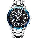 New CURREN ファッション メンズ ステンレススチールバンド アナログ スポーツ クォーツ腕時計CUR007