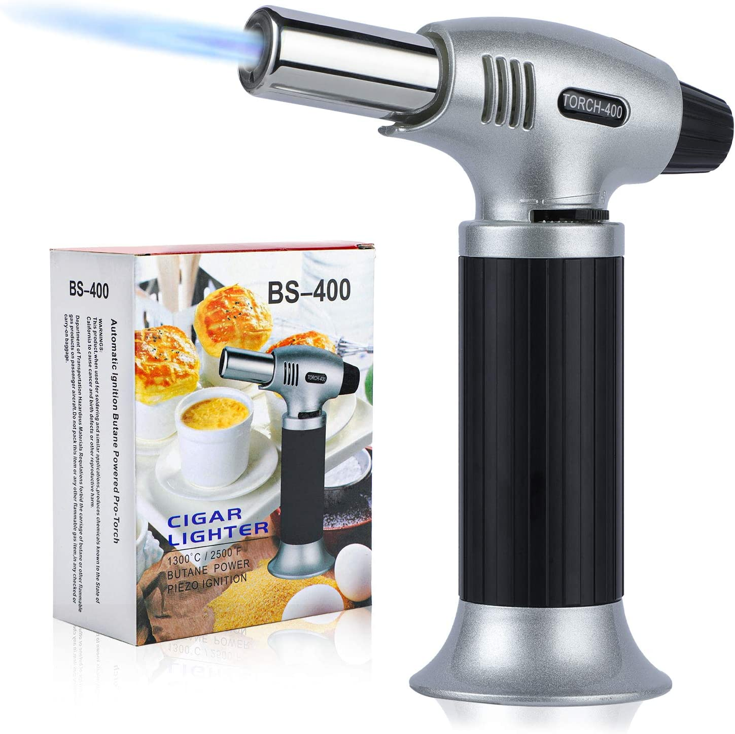 ORNOOU Butane Torch, Refillable Culinary Torch, Adjustable Kitchen Food Torch Lighter for Creme Brulee, BBQ, Baking, Desserts and Crafts (Butane Gas Not Included), Black