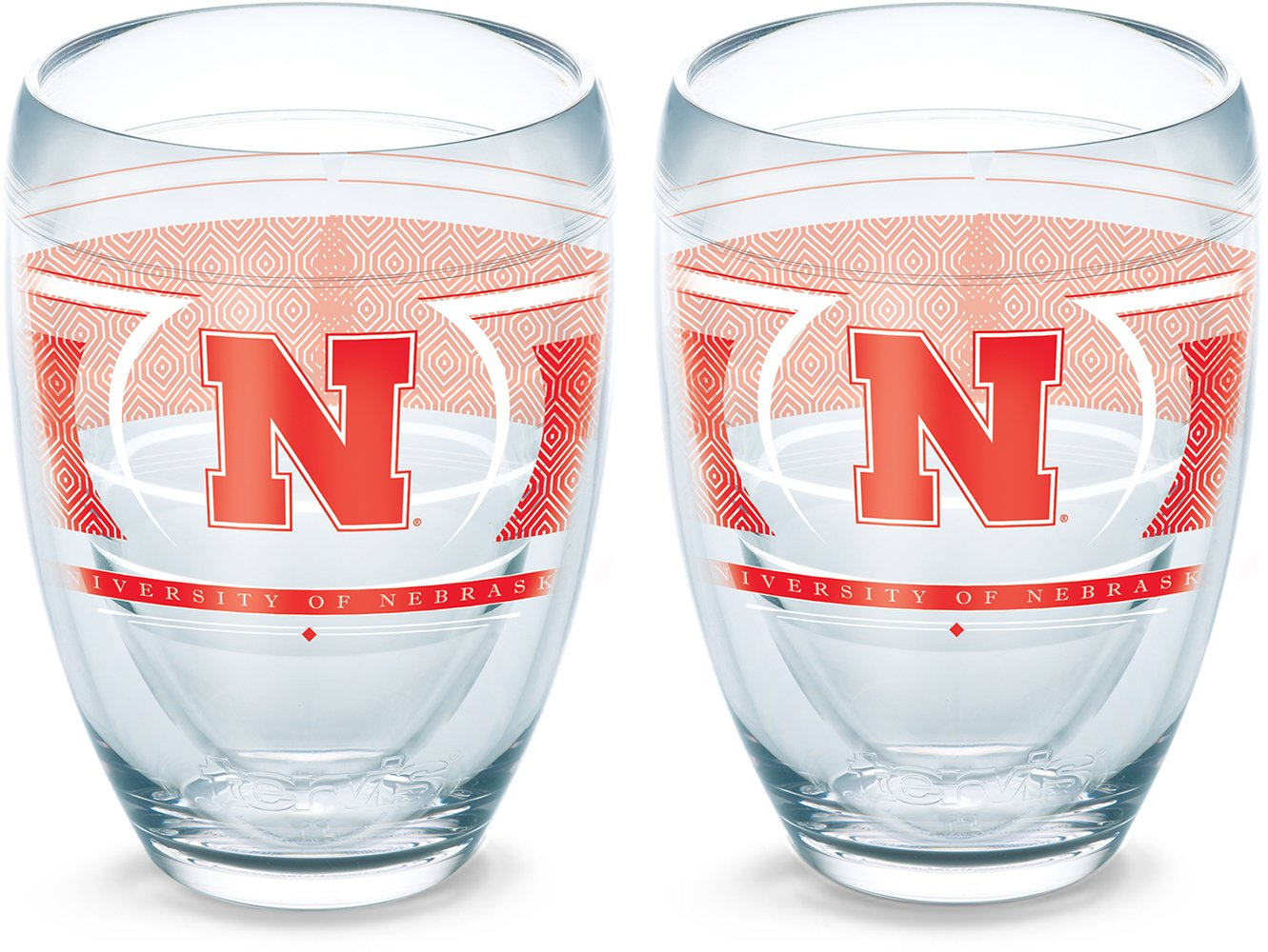 Tervis 1230235 Nebraska Cornhuskers Reserve Insulated Tumbler with Wrap 2 Pack Boxed 9oz Stemless Wine Glass Clear