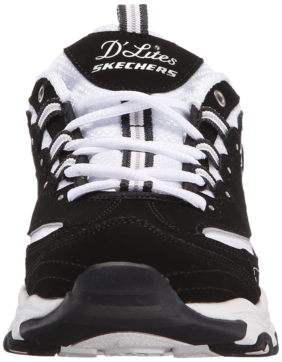 Skechers Women's D'Lites Memory Foam Lace-up Sneaker B016R0KHNQ 6.5 B(M) US|Biggest Fan Black/White
