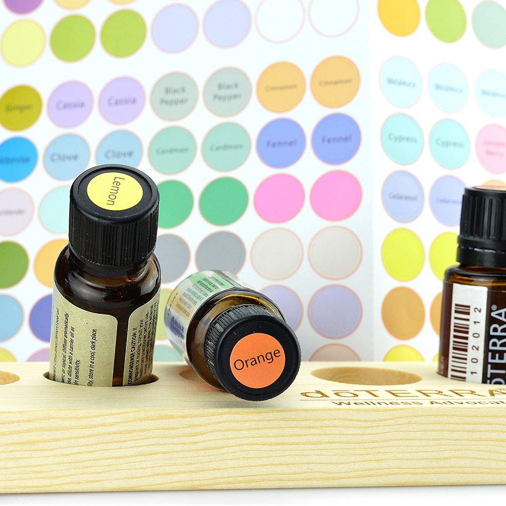5 hojas de etiquetas para botellas de aceite esencial, botellas de cristal, pegatinas redondas de colores, 192 pegatinas por hoja, etiquetas de codificación ...