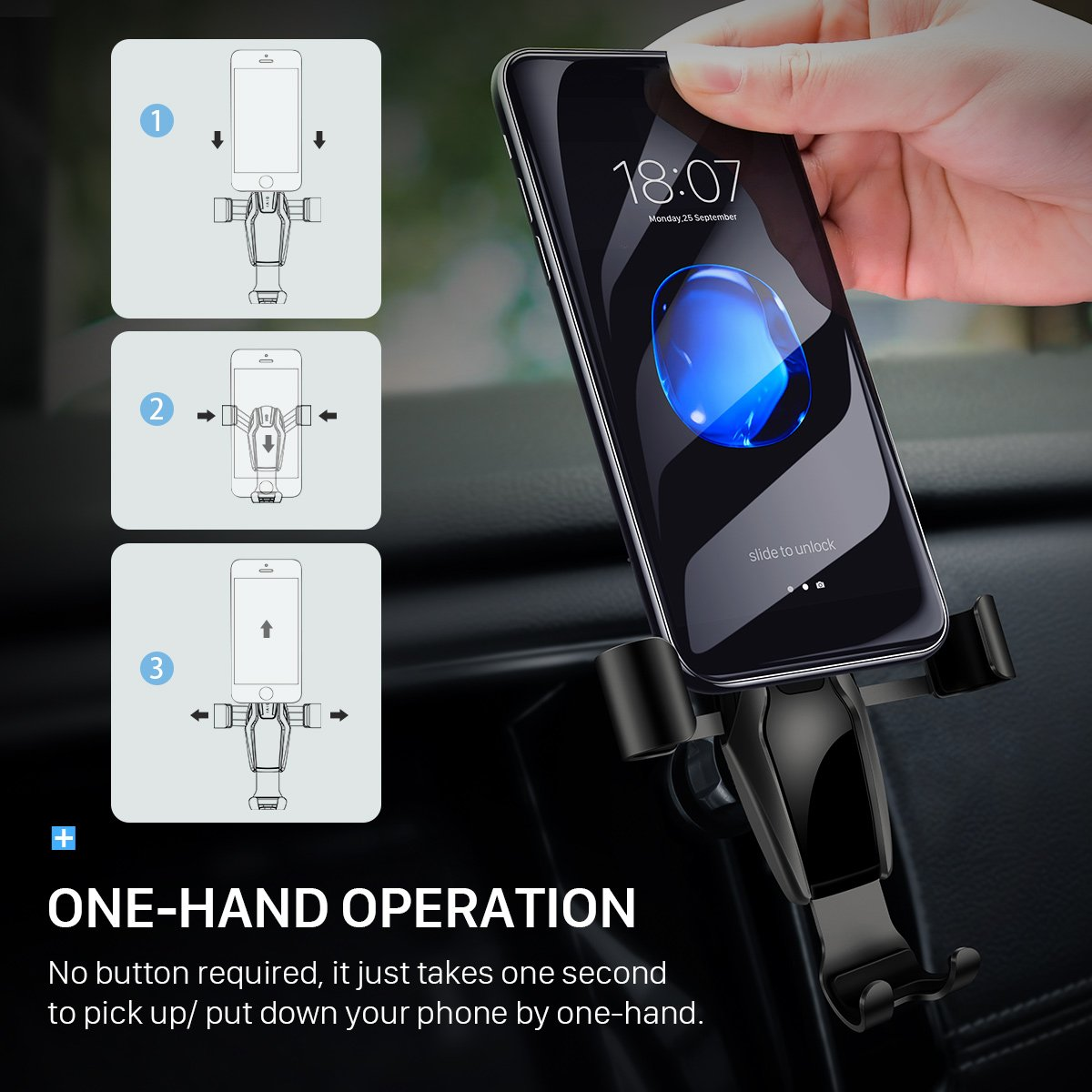 Cell Phone Holder for Car 4351481658 Divi Ainope Gravity Car Phone Mount Auto-Clamping Air Vent Car Phone Holder Universal Car Phone Mount Compatible iPhone Xs MAX//X//8//7 Galaxy Note 9//S9 Plus//S8//S7- Black