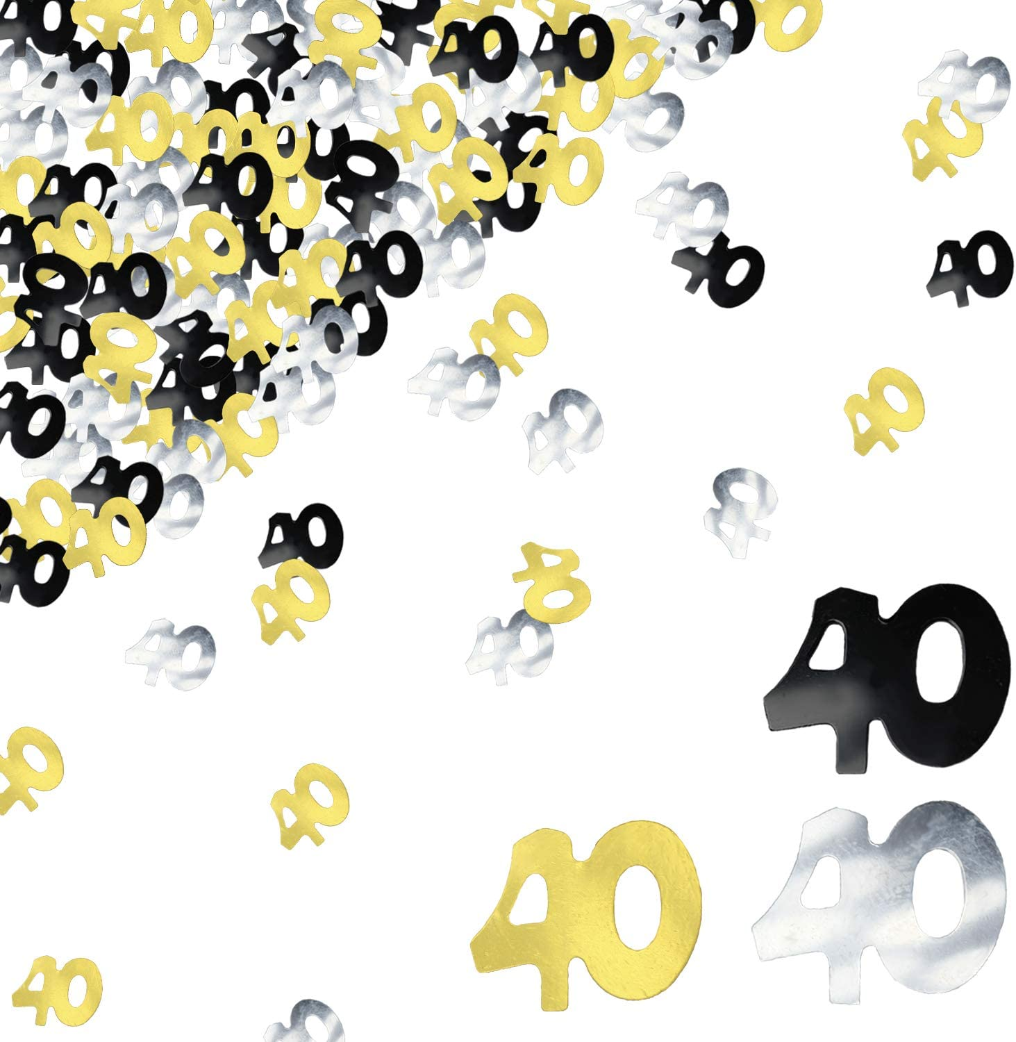 BEADNOVA 40th Birthday Confetti Forty Years Old Confetti 40 Anniversary Number Confetti for Birthday Party Decor Wedding Table Decoration (1oz, Gold Silver Black Mix)