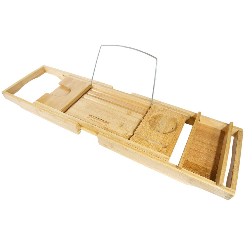 Bathtub Tray Amazoncom Luxe Bamboo Bathtub Caddy Tray With Book Reading Rack