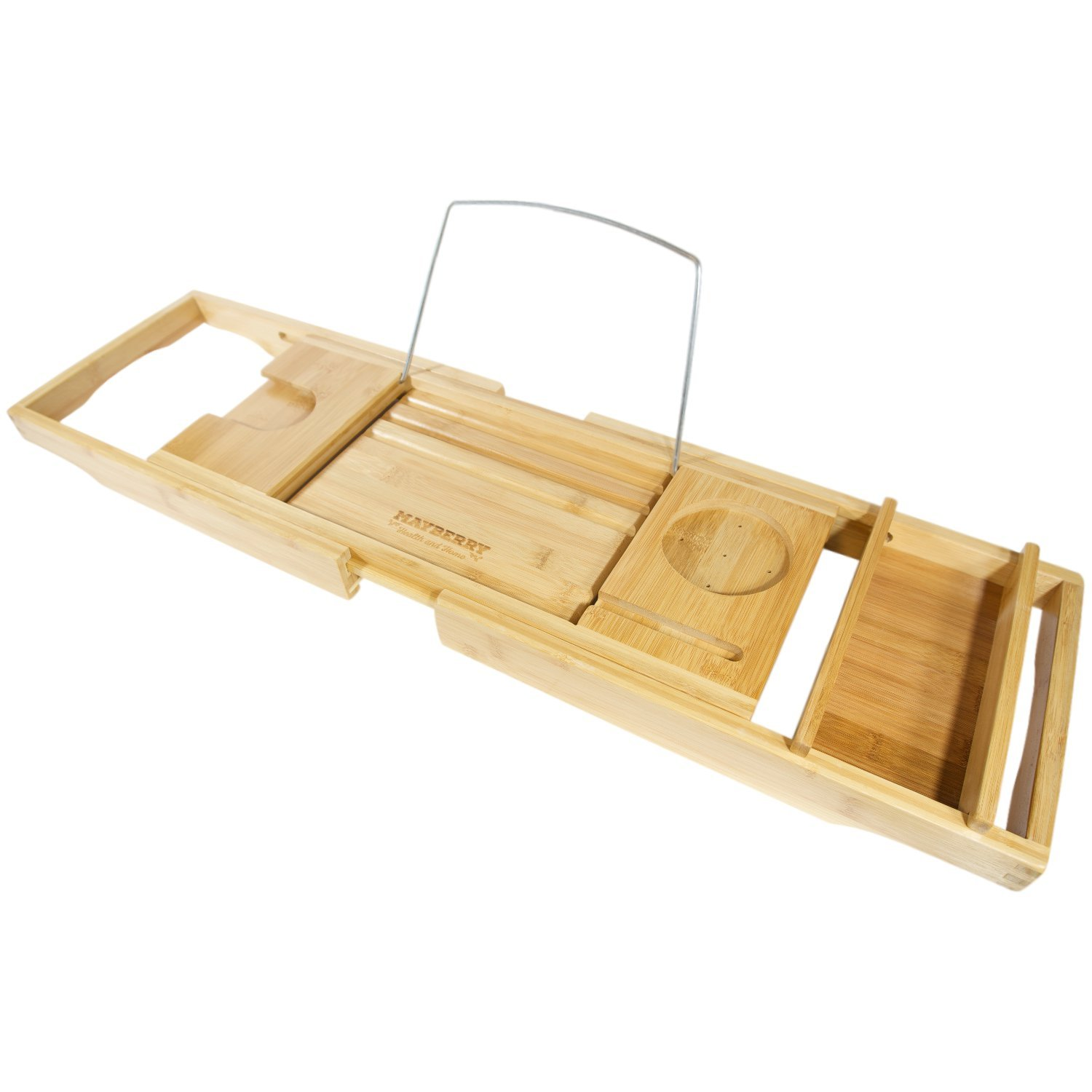 Bamboo Bathtub Caddy with Arms That Extend From 29.5 Up To 43 Inches, Bathtub  Tray